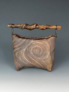 Kohiki vase with twisted wood handle