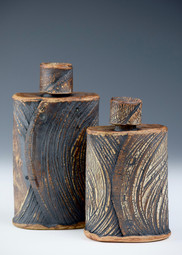 Two Kohiki flasks with stoppers