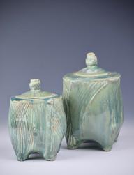 Two lidded jars