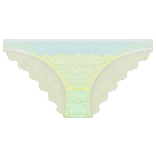 Slip Emelie aus neongelber Spitze freigestellte Vorderansicht