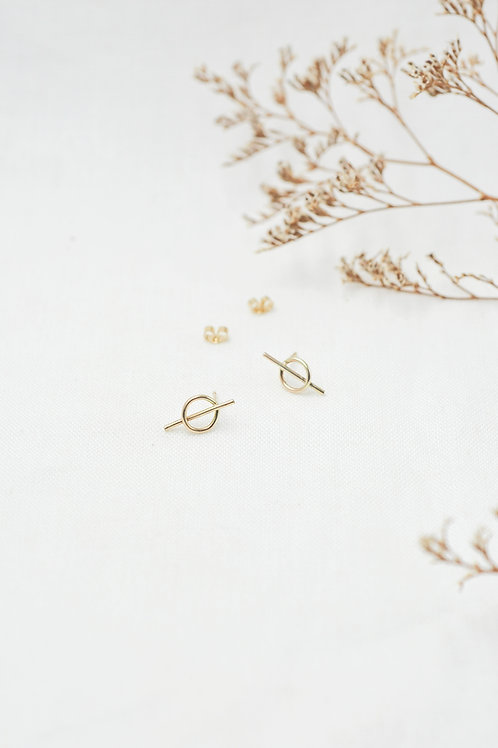 Intersected Circle Stud Earrings - 9ct Gold