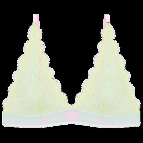 Triangle Bra Emelie in neongelber Spitze und hellblauem Mesh Vorderansicht freigestellt