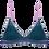 Lila Triangle BH mit dunkelblauer Spitze auf grünem Mesch mit rosa Bändern Vorderansicht freigestellt