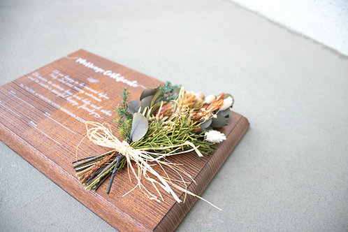 結婚証明書 ドライフラワー 木の結婚証明書