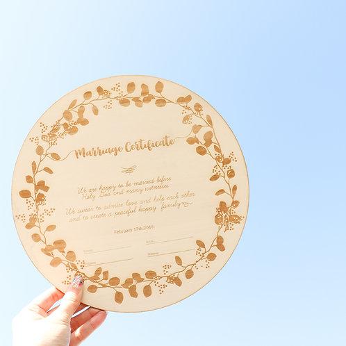 リースの結婚証明書 リース ミモザ ユーカリ 結婚証明書 木の結婚証明書