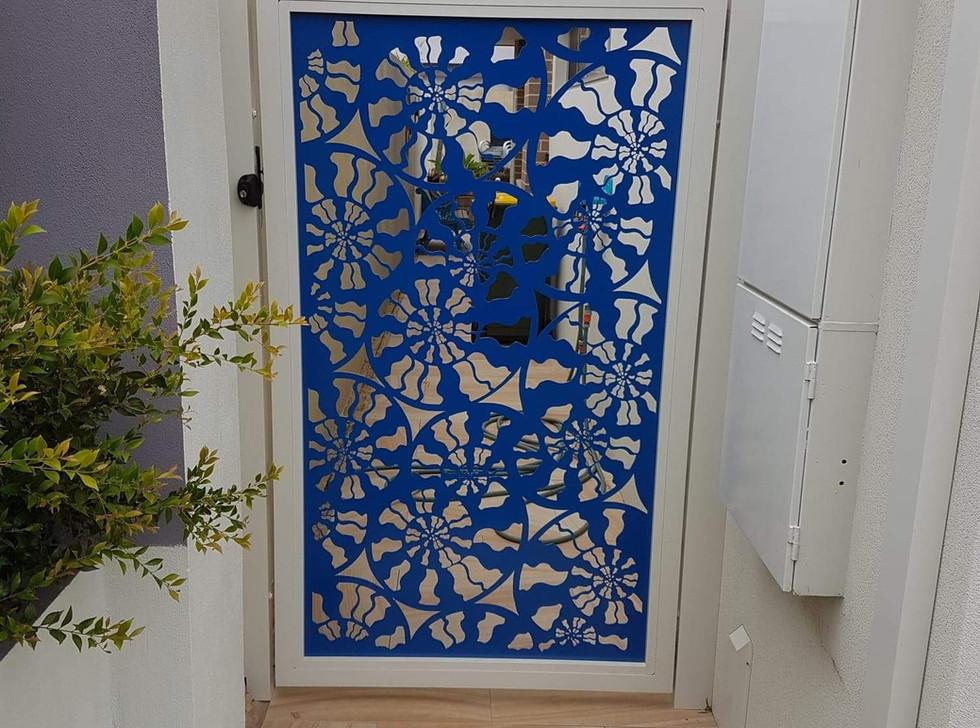 Blue Lazer Cut Side Gate - Custom made by Classic Aluminium