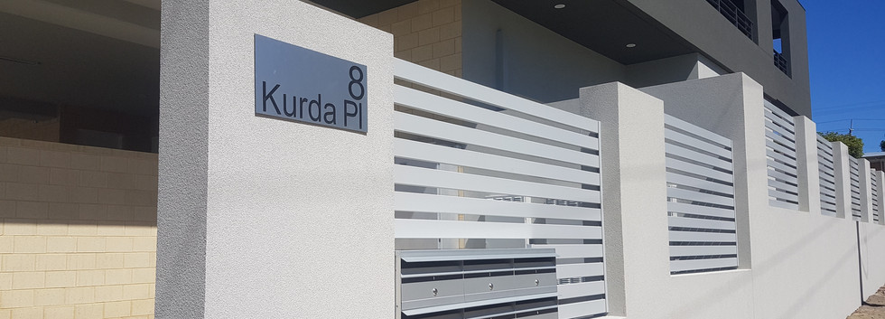 Light Grey Slat Fence around letterboxes - Custom made by Custom Aluminium Perth