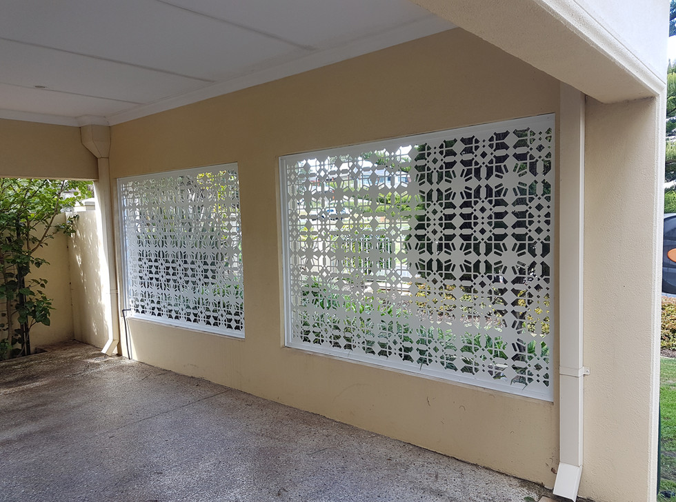 White Lazer Cut Fence classic patterns for carport - Custom made by Classic Aluminium