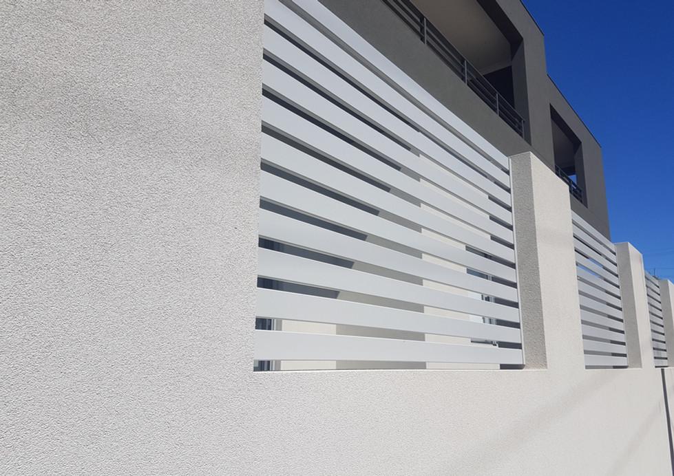 Light Grey Slat Fence close up - Custom made by Custom Aluminium Perth
