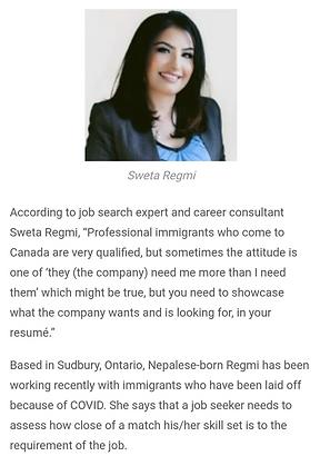 Sweta Regmi featured in Canadian Immigrant magazine