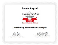 Award of excellence Sweta Regmi, Founder & CEO, Career Consultant, Coach Canada,  Outstand