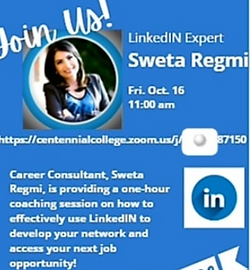 Sweta Regmi invited to Centennial College in Canada as a guest speaker for her LinkedIn Branding expertise for job seekers and new graduates.