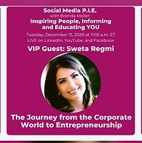 Sweta Regmi talks about corporate to entrepreneurship lesson Sweta Regmi, Founder & CEO, Career Consulant, Canada as a guest speaker