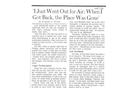 I Just Went Out for Air:When I Got Back, the Place Was Gone