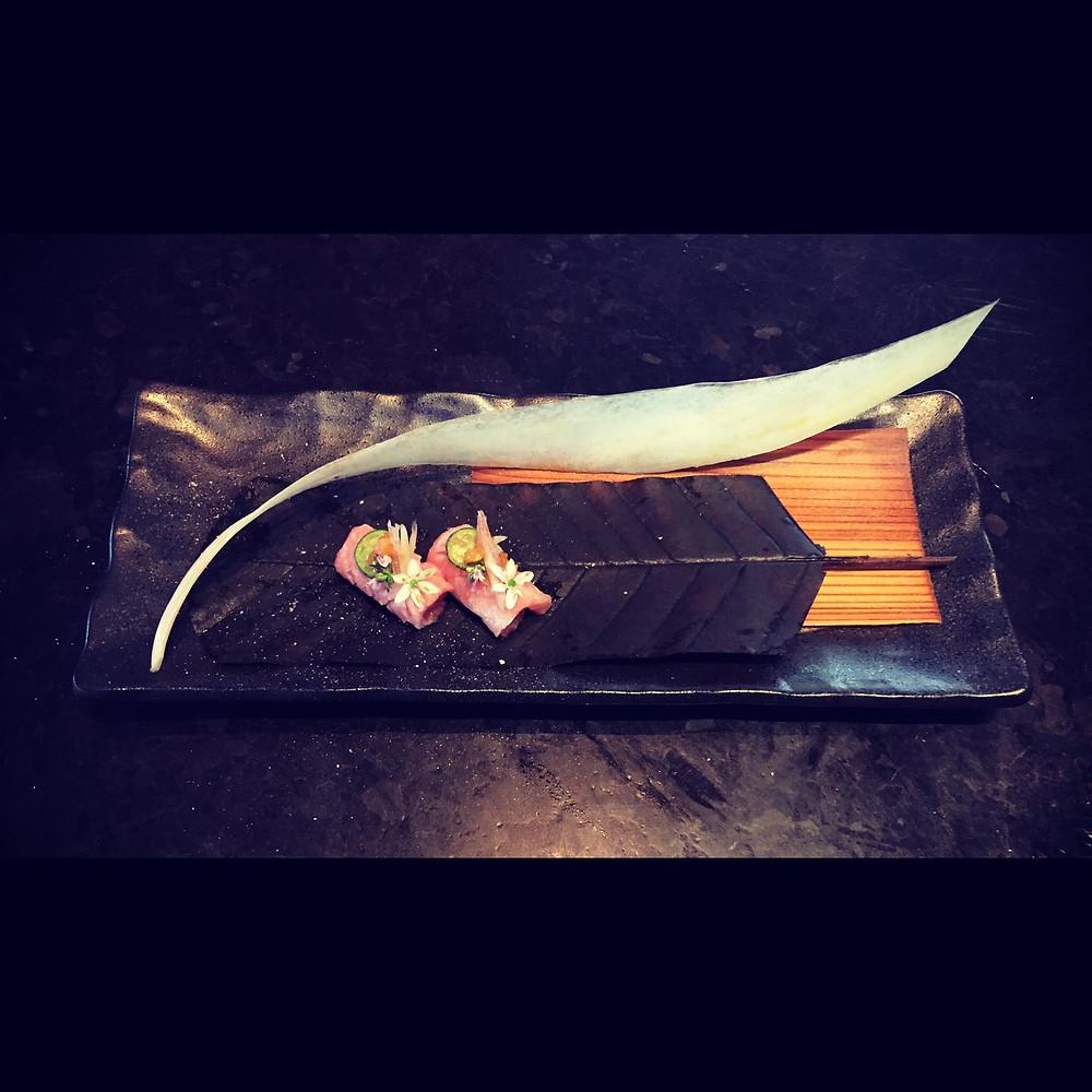 Otoro, fatty bluefin tuna sashimi for Chef Rick Bayless