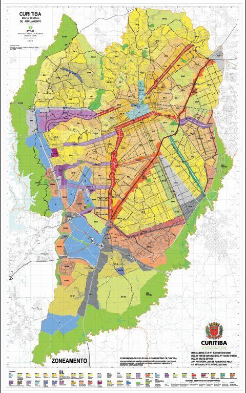 Mapa da Lei de Zoneamento de Curitiba