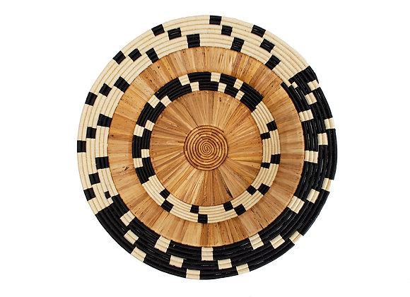 "31"" Oversized Checkered Banana Bark Round Basket"