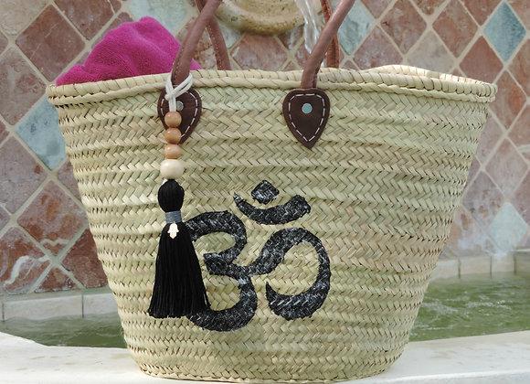 Straw Bag/Yoga Bag, Hand-Painted Black Om Symbol