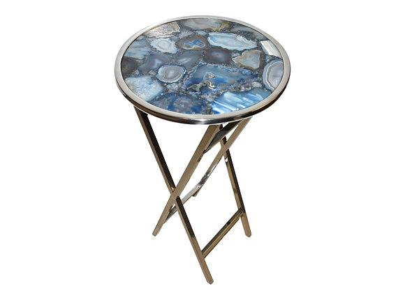 """14"""" Round Pastel Blue Agate Composite Side Table with Polished Steel"""