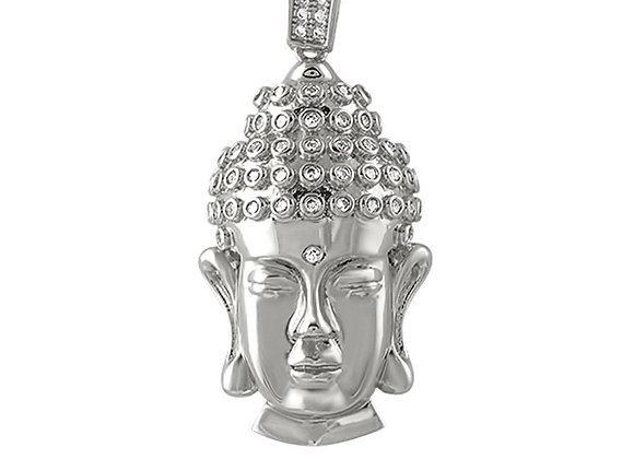 Clean Buddha Head CZ Rhodium Pendant