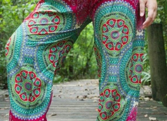 Burgundy GEOMETRIC Women Boho Pants Hippie Pants Yoga Pants