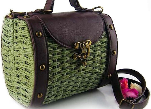 Womens Vintage Look Wicker Straw Handbag