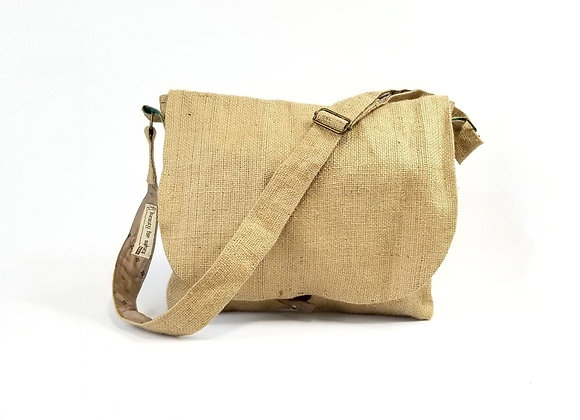 Burlap Messenger Bag