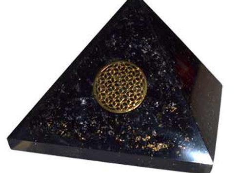 70mm Orgone Tourmaline & Flower pyramid