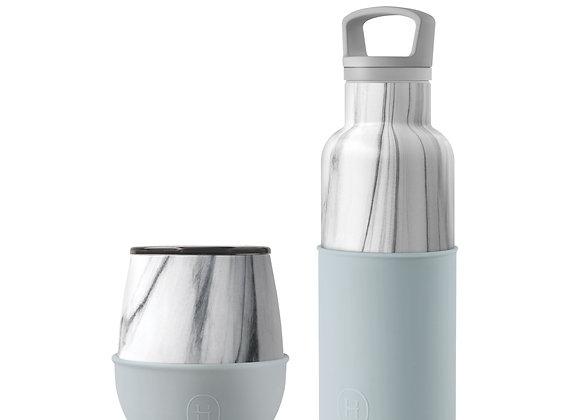 White Marble Bottle and Tumbler Set