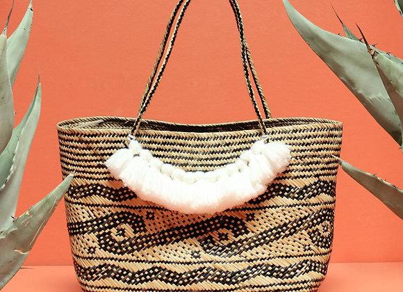 Borneo Medio Straw Tote Bag - Hand Bag with White Roman Tassels