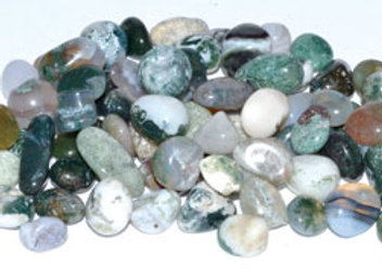 1 lb Agate, Moss tumbled chips 7-9mm
