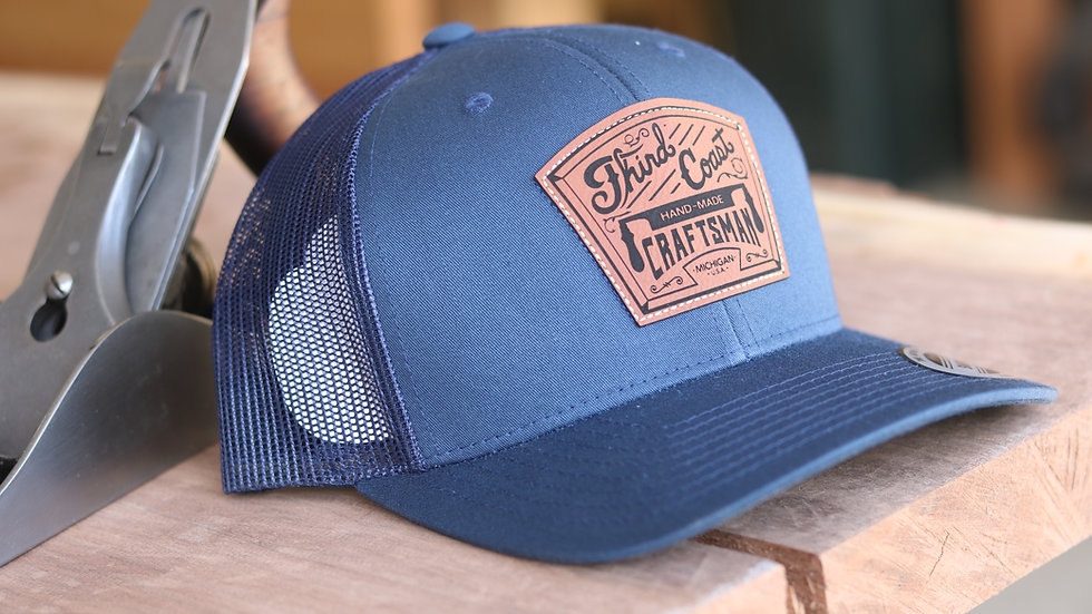 TCC Logo Leather Patch Navy/Navy Snap-Back Hat