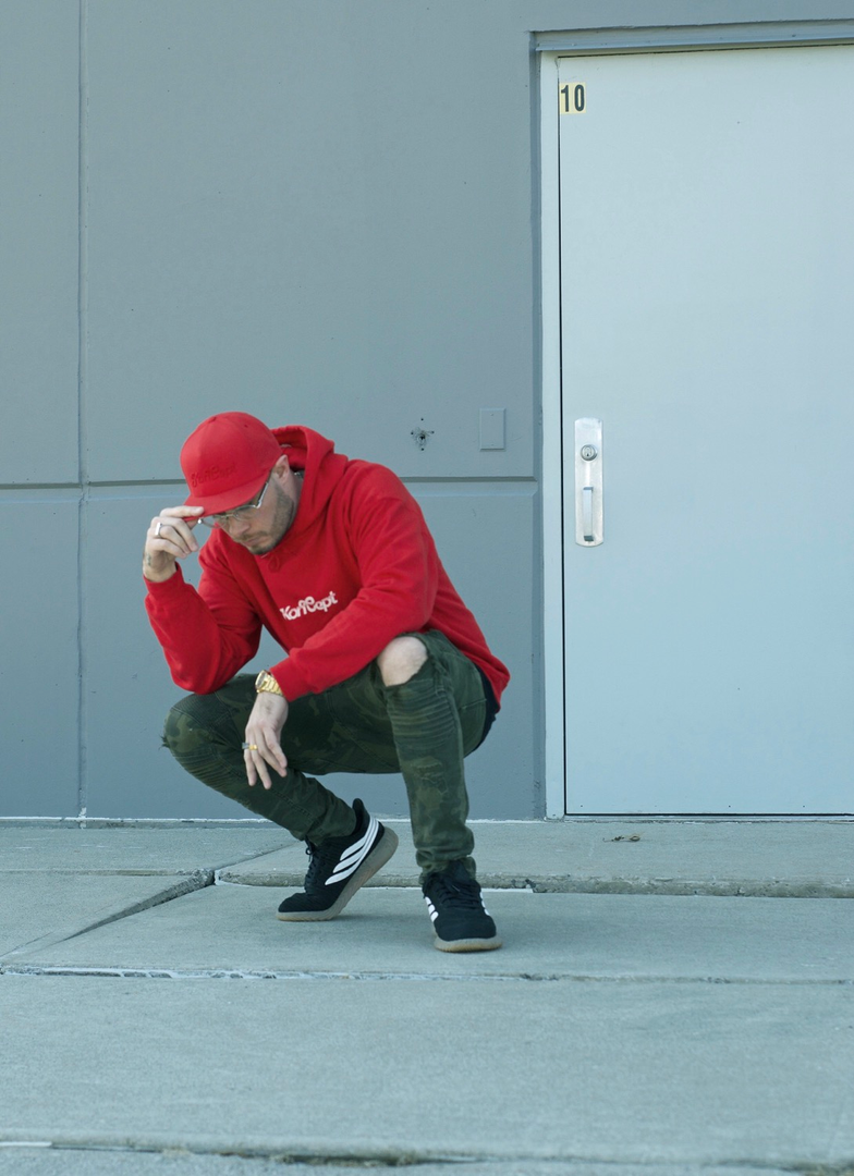 Koncept in Red Koncept Logo Hoodie and Red Koncept Logo SnapBack