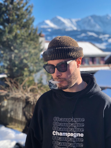 "Koncept in the ""Champagne Thank You"" Hoodie! In Switzerland"