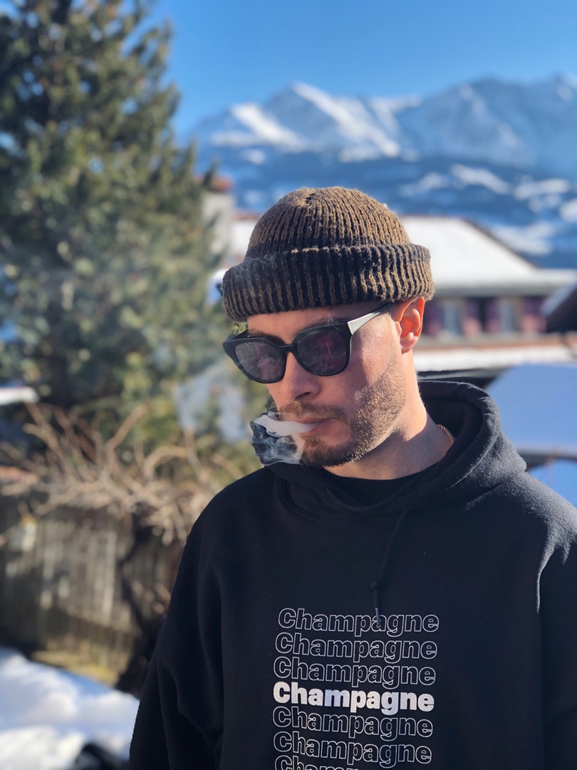 """Koncept in the """"Champagne Thank You"""" Hoodie! In Switzerland"""