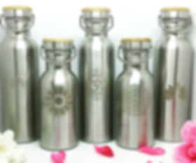 Eco Friendly Water Bottles with Yoga Art Design