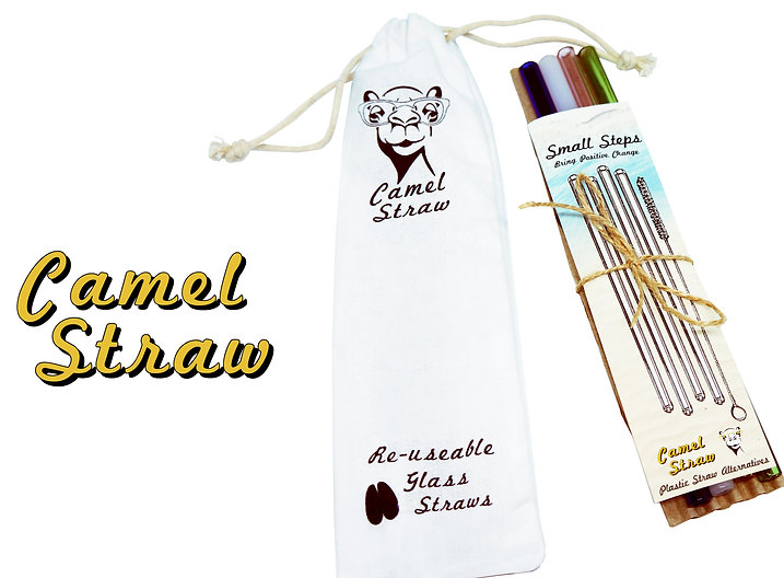 Camel Straw Reusable Glass Straw 4 Pack