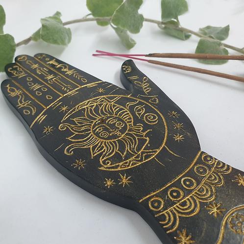 Gold Palmistry Incense Holder