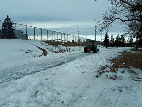 March 2 Update:  golf course staff removing snow off greens = snow clearing along Bow Trail