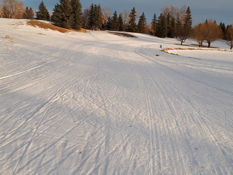 March 8 Update:  no new grooming, driving range and Alasdair's alley are still good to ski when soft
