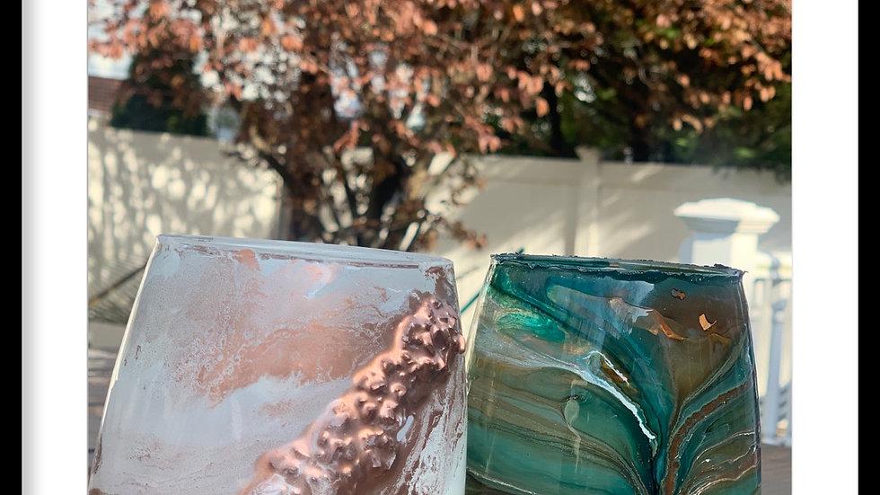 Rose Gold Glass Encrusted Crystal Stemlesss