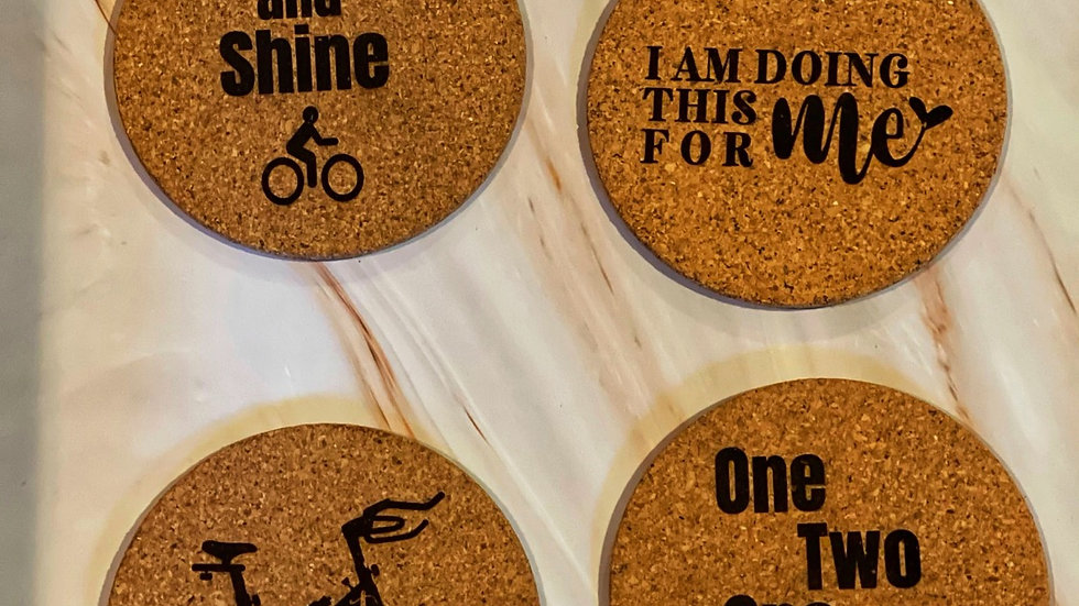 CUSTOM CORK coasters - you'll get this set unless you email us or leave in notes