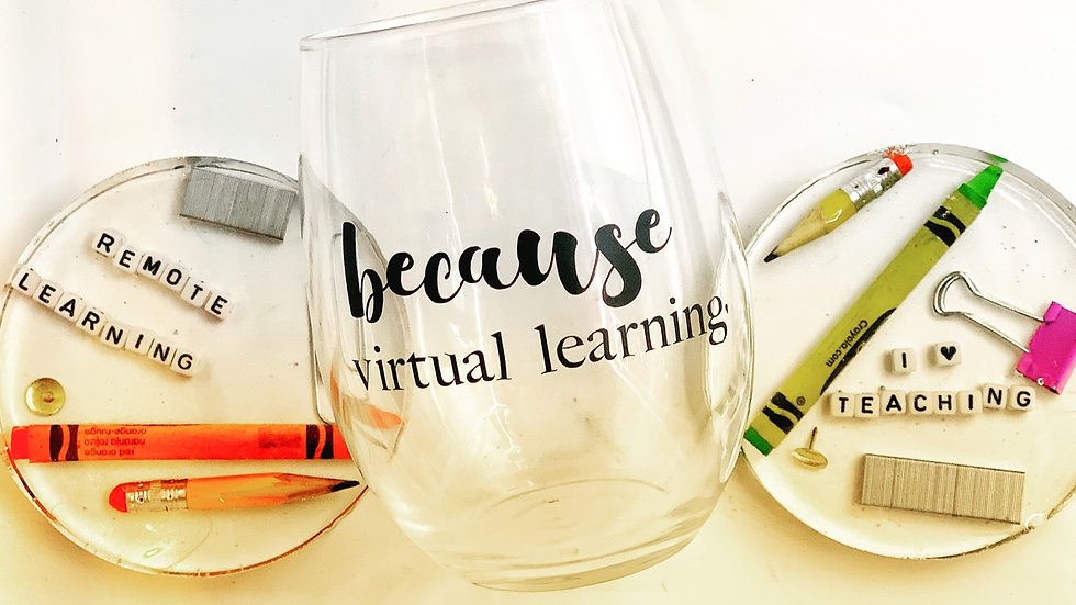 Because Virtual Learning Glasses & Coasters