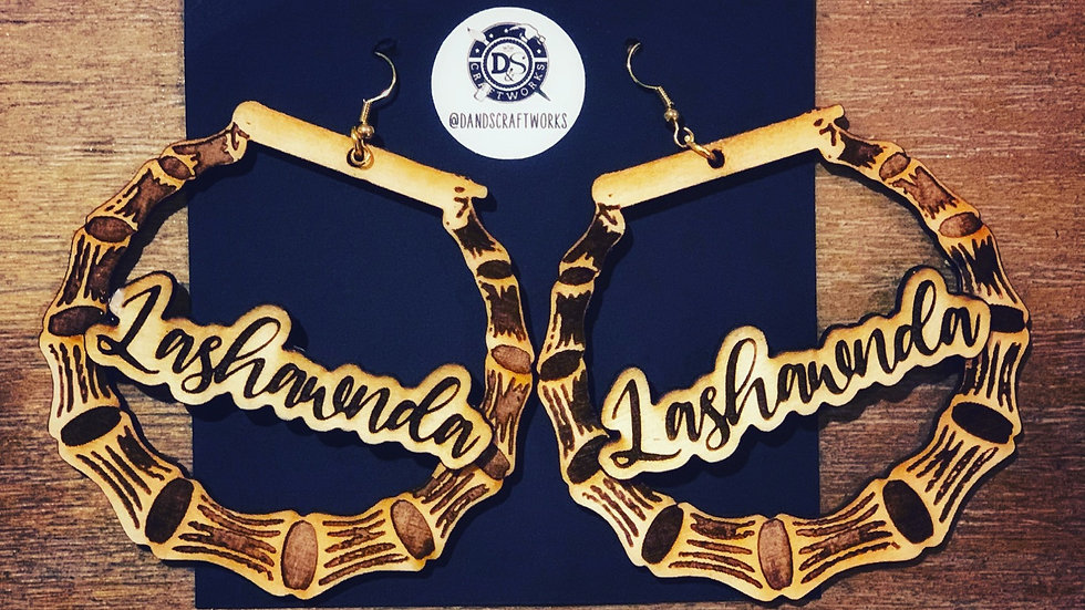 Personalized bamboo wooden engraved earrings