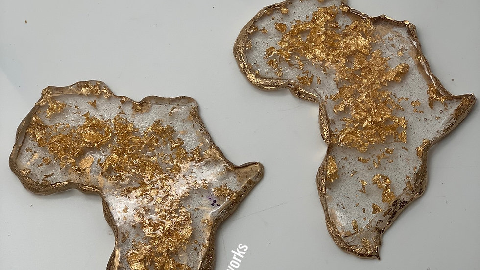 Africa Gold Flake Coasters 2 coasters