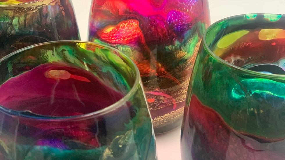 Rainbow Stemless Wine Glass