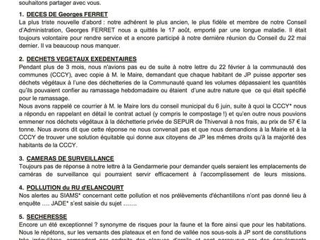 Bulletin de A.D.E.E. concernant le PLU, important !