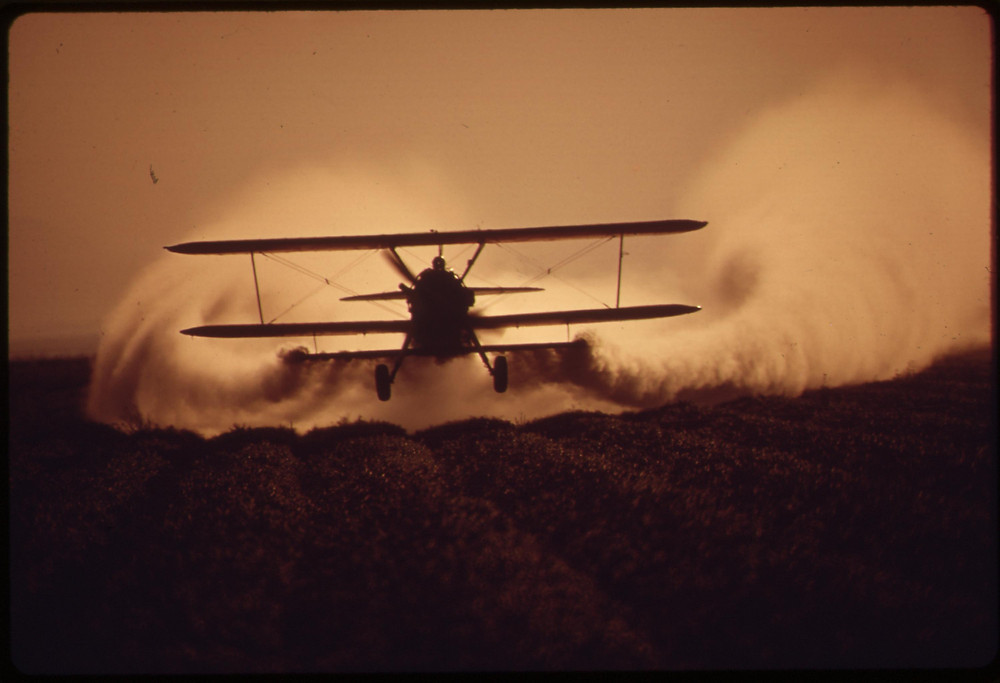 Crop dusting with pesticides