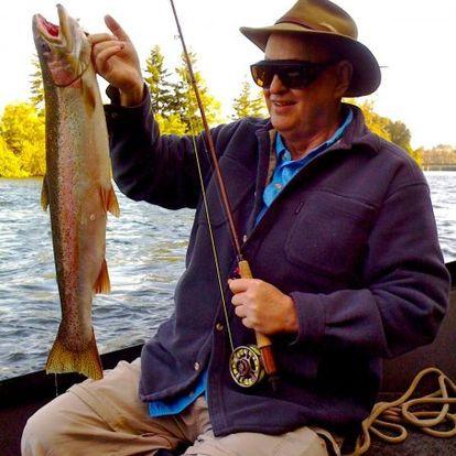 Steelhead trout caught on a fly rod.