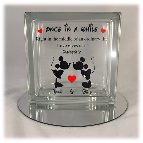 Disney Love is a Fairytale Light Up Glass Block